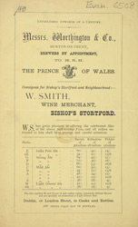 Advert For Messers Worthing & Co., Brewers
